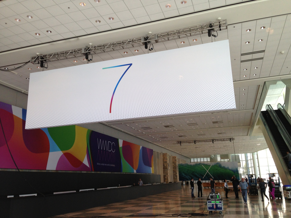 iOS 7 banner at WWDC